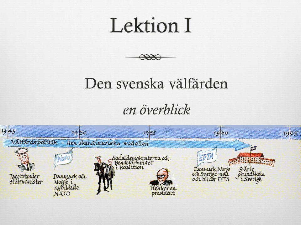 Lektion ILektion I Den svenska välfärden en överblick