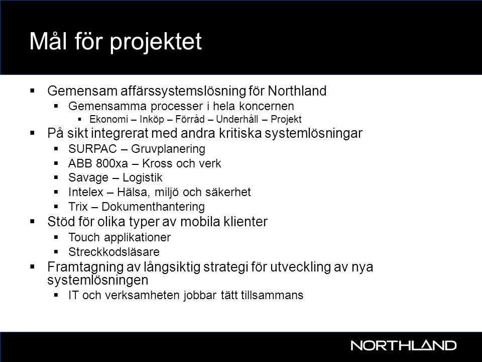 Mål för projektet  Gemensam affärssystemslösning för Northland  Gemensamma processer i hela koncernen  Ekonomi – Inköp – Förråd – Underhåll – Proje