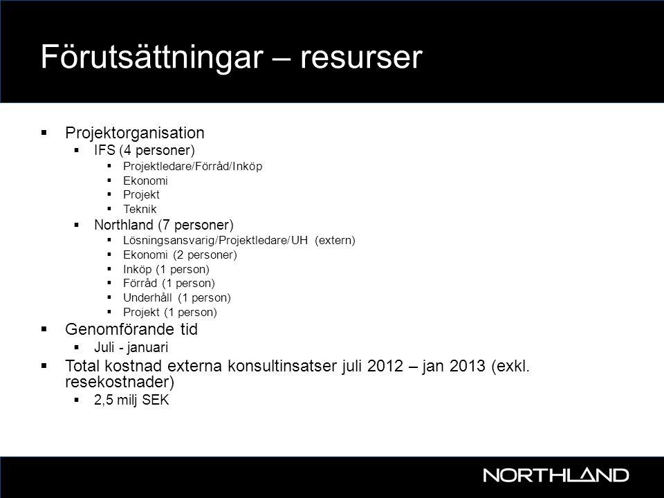 Förutsättningar – resurser  Projektorganisation  IFS (4 personer)  Projektledare/Förråd/Inköp  Ekonomi  Projekt  Teknik  Northland (7 personer)