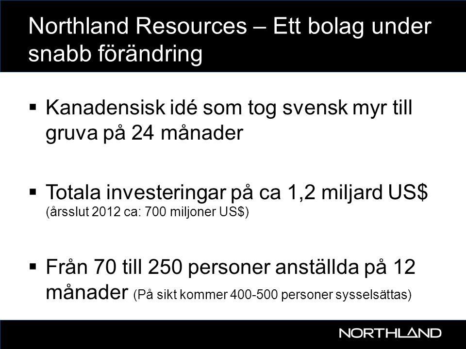 Northland Resources – Ett bolag under snabb förändring  Kanadensisk idé som tog svensk myr till gruva på 24 månader  Totala investeringar på ca 1,2