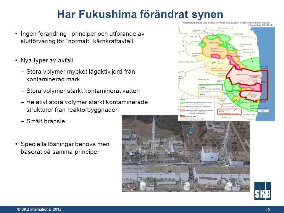 """© SKB International 2013 Har Fukushima förändrat synen •Ingen förändring i principer och utförande av slutförvaring för """"normalt"""" kärnkraftavfall •Nya"""