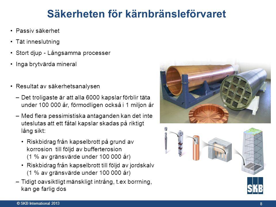 © SKB International 2013 Säkerheten för kärnbränsleförvaret •Passiv säkerhet •Tät inneslutning •Stort djup - Långsamma processer •Inga brytvärda miner