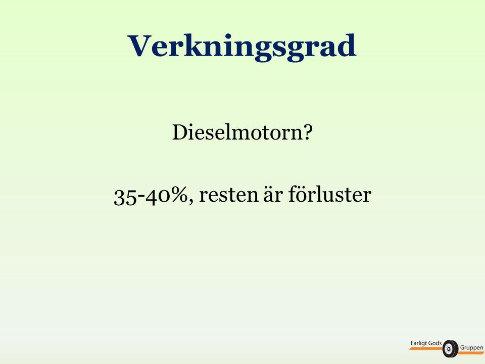 Verkningsgrad Dieselmotorn? 35-40%, resten är förluster