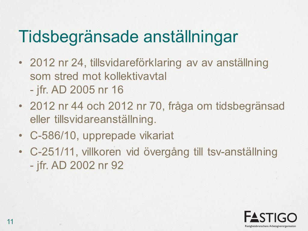 Tidsbegränsade anställningar •2012 nr 24, tillsvidareförklaring av av anställning som stred mot kollektivavtal - jfr.