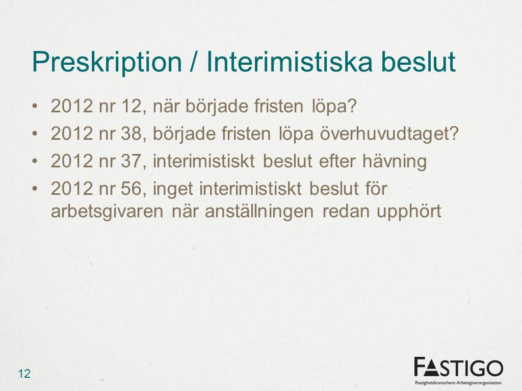 Preskription / Interimistiska beslut •2012 nr 12, när började fristen löpa.