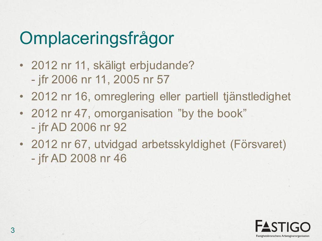 Omplaceringsfrågor •2012 nr 11, skäligt erbjudande.