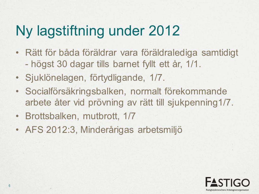 Ny lagstiftning under 2012 •Rätt för båda föräldrar vara föräldralediga samtidigt - högst 30 dagar tills barnet fyllt ett år, 1/1.