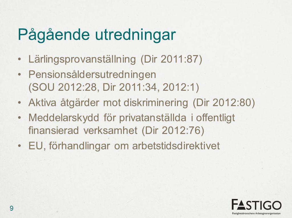 Pågående utredningar •Lärlingsprovanställning (Dir 2011:87) •Pensionsåldersutredningen (SOU 2012:28, Dir 2011:34, 2012:1) •Aktiva åtgärder mot diskriminering (Dir 2012:80) •Meddelarskydd för privatanställda i offentligt finansierad verksamhet (Dir 2012:76) •EU, förhandlingar om arbetstidsdirektivet 9