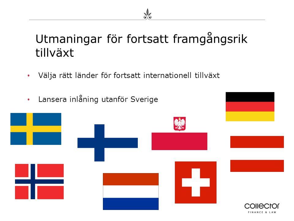• Välja rätt länder för fortsatt internationell tillväxt • Lansera inlåning utanför Sverige
