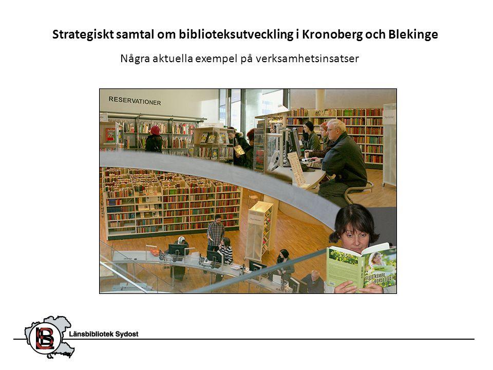 Länsbibliotek Sydost arbetar primärt med att utveckla och komplettera kommunbiblioteken i Kronoberg och Blekinge.