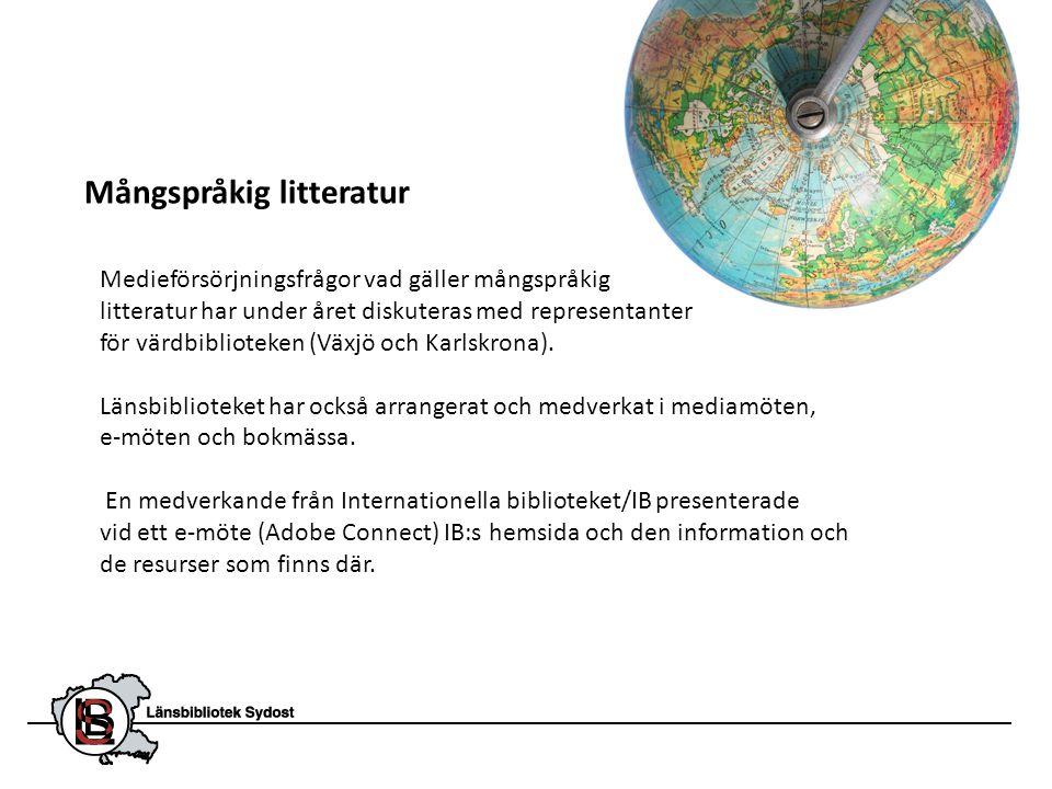 Mångspråkig litteratur Medieförsörjningsfrågor vad gäller mångspråkig litteratur har under året diskuteras med representanter för värdbiblioteken (Väx