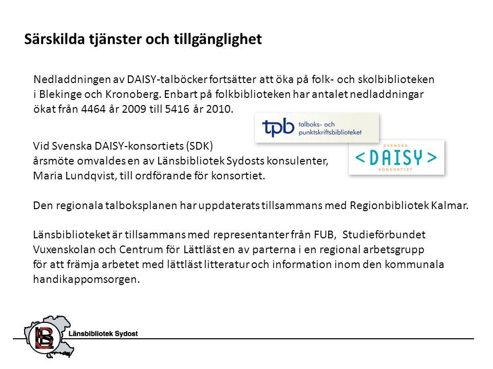 Särskilda tjänster och tillgänglighet Nedladdningen av DAISY-talböcker fortsätter att öka på folk- och skolbiblioteken i Blekinge och Kronoberg. Enbar