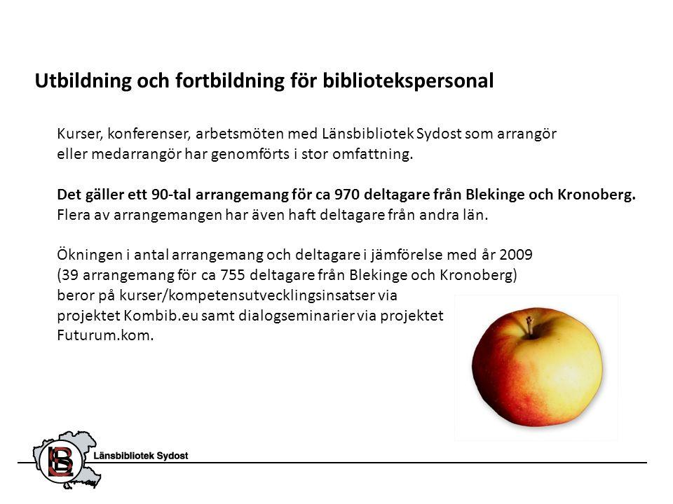 Utbildning och fortbildning för bibliotekspersonal Kurser, konferenser, arbetsmöten med Länsbibliotek Sydost som arrangör eller medarrangör har genomf