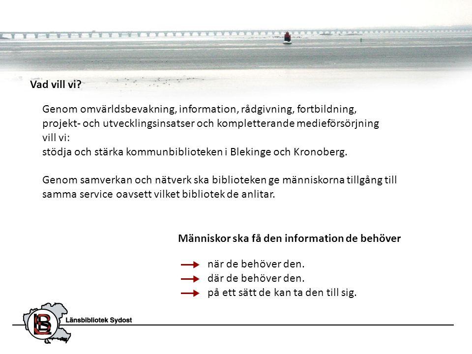 • Samverkansprojekt (2010-2012) mellan Länsbibliotek Sydost, Regionbibliotek Kalmar och de 25 folkbiblioteken i Blekinge, Kronoberg och Kalmar län.