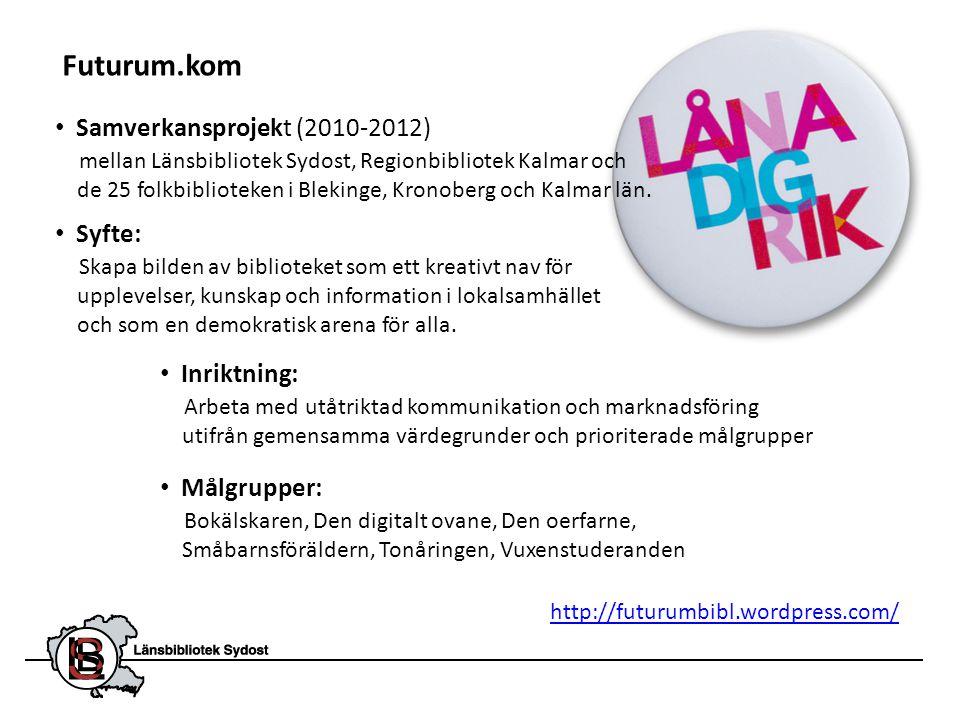 • Samverkansprojekt (2010-2012) mellan Länsbibliotek Sydost, Regionbibliotek Kalmar och de 25 folkbiblioteken i Blekinge, Kronoberg och Kalmar län. ht