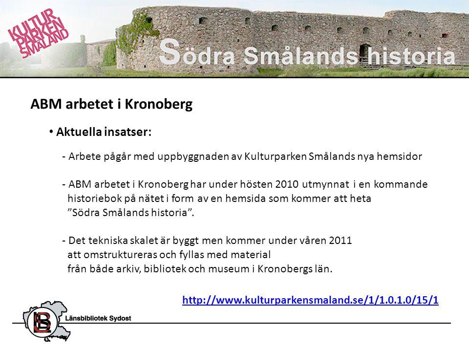 • Aktuella insatser: - Arbete pågår med uppbyggnaden av Kulturparken Smålands nya hemsidor - ABM arbetet i Kronoberg har under hösten 2010 utmynnat i