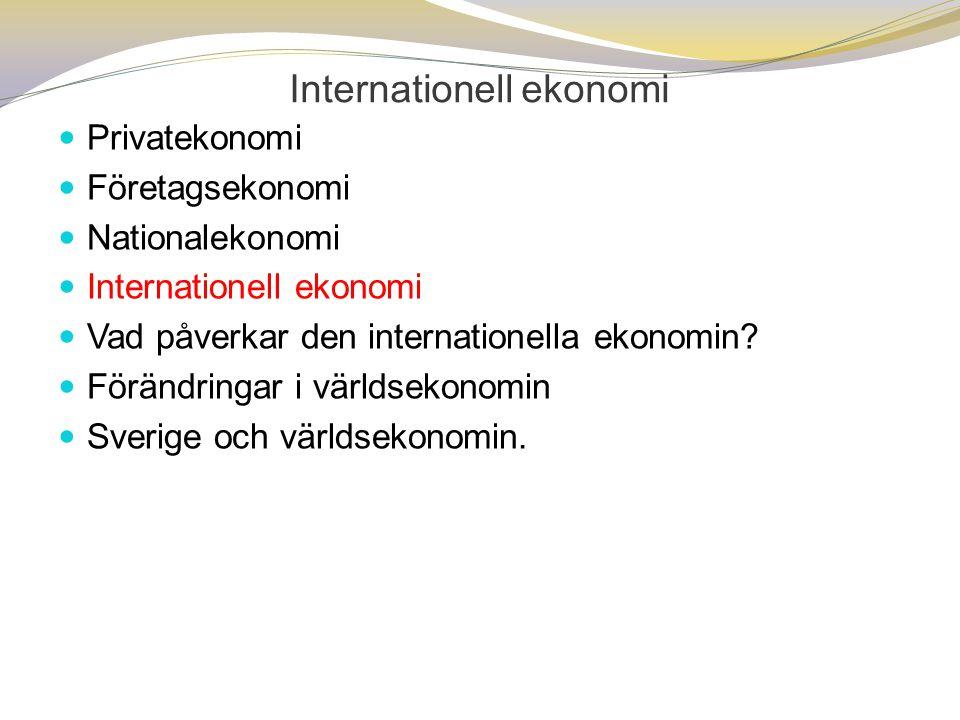 Internationell ekonomi  Privatekonomi  Företagsekonomi  Nationalekonomi  Internationell ekonomi  Vad påverkar den internationella ekonomin?  För