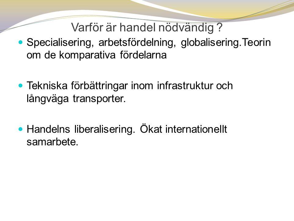  Specialisering, arbetsfördelning, globalisering.Teorin om de komparativa fördelarna  Tekniska förbättringar inom infrastruktur och långväga transpo