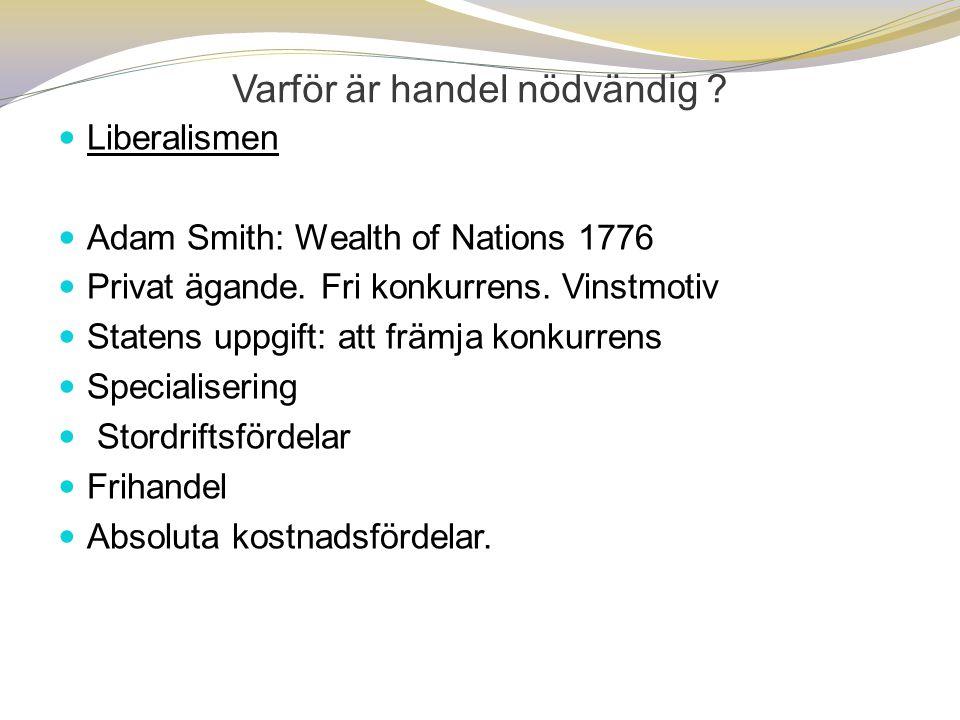Varför är handel nödvändig ?  Liberalismen  Adam Smith: Wealth of Nations 1776  Privat ägande. Fri konkurrens. Vinstmotiv  Statens uppgift: att fr