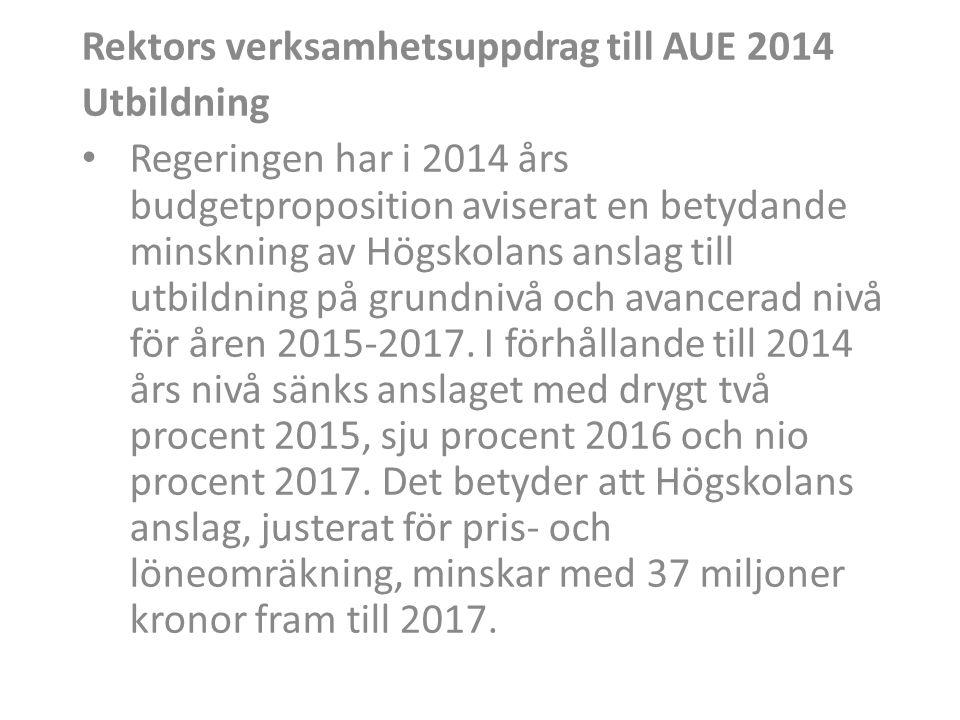 Rektors verksamhetsuppdrag till AUE 2014 Utbildning • Regeringen har i 2014 års budgetproposition aviserat en betydande minskning av Högskolans anslag till utbildning på grundnivå och avancerad nivå för åren 2015-2017.
