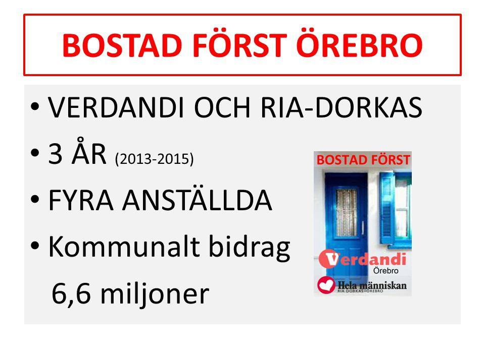 BOSTAD FÖRST ÖREBRO • VERDANDI OCH RIA-DORKAS • 3 ÅR (2013-2015) • FYRA ANSTÄLLDA • Kommunalt bidrag 6,6 miljoner