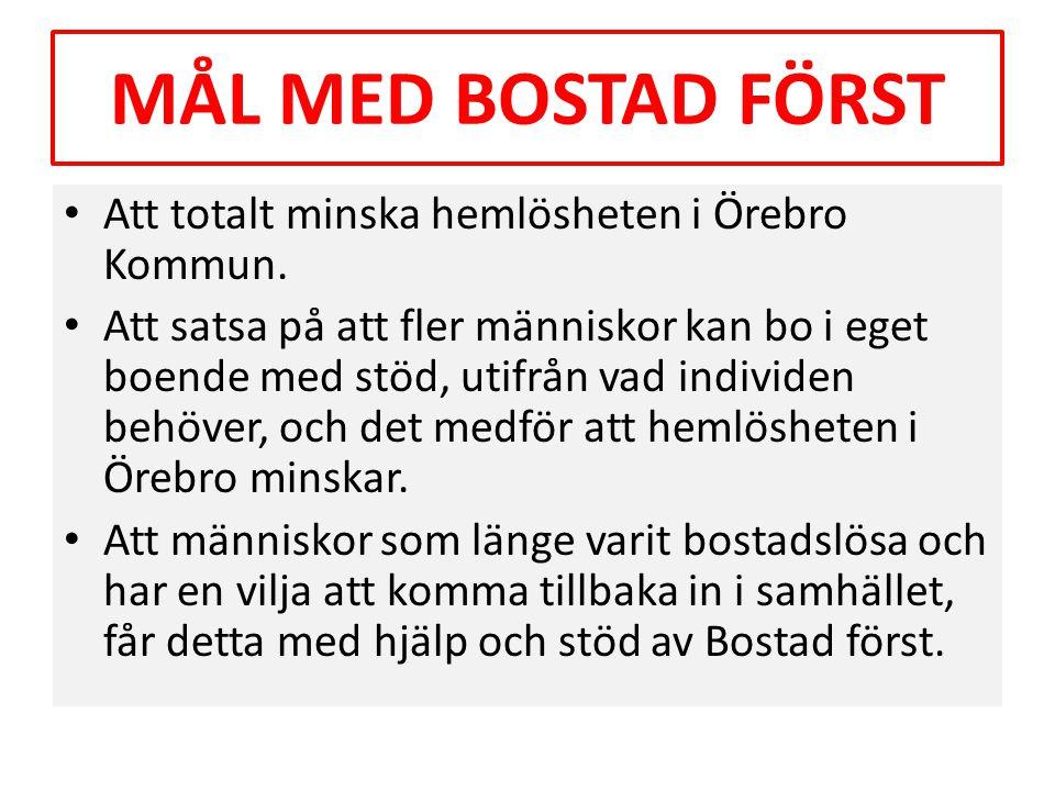 MÅL MED BOSTAD FÖRST • Att totalt minska hemlösheten i Örebro Kommun. • Att satsa på att fler människor kan bo i eget boende med stöd, utifrån vad ind
