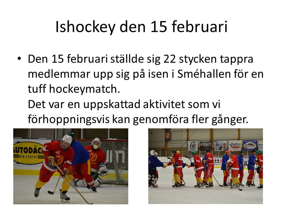 Ishockey den 15 februari • Den 15 februari ställde sig 22 stycken tappra medlemmar upp sig på isen i Sméhallen för en tuff hockeymatch.