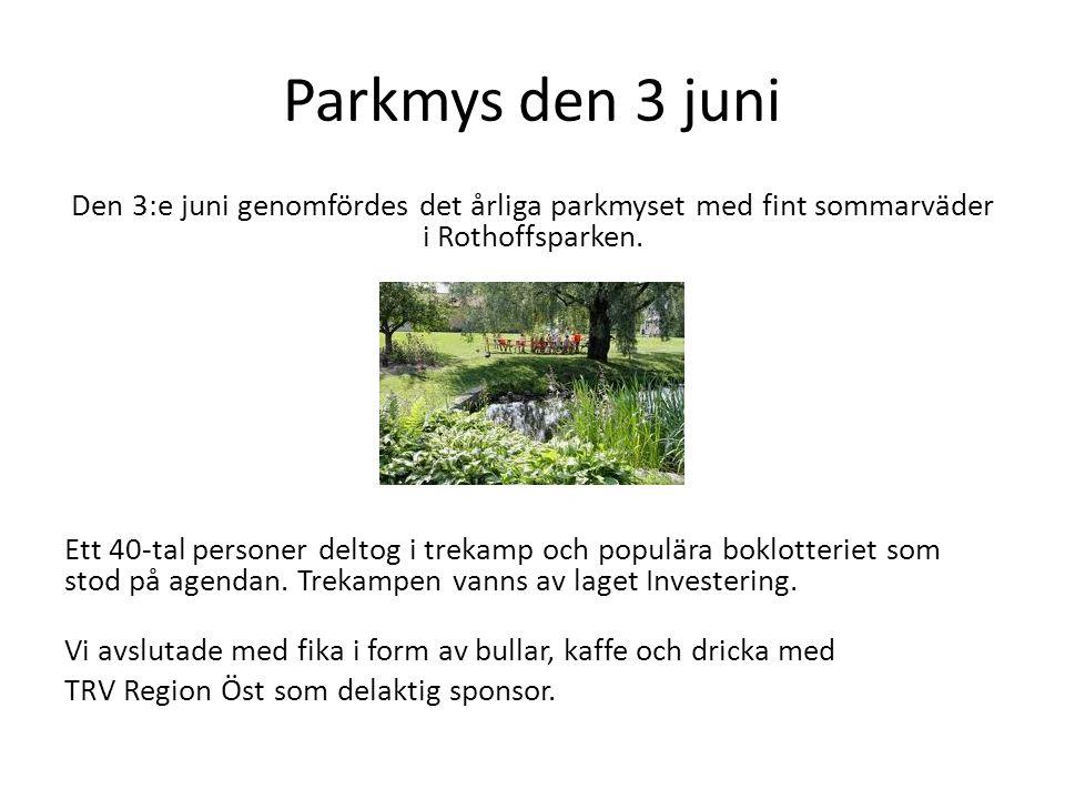 Parkmys den 3 juni Den 3:e juni genomfördes det årliga parkmyset med fint sommarväder i Rothoffsparken.