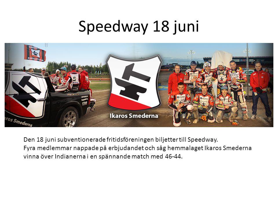 Speedway 18 juni Den 18 juni subventionerade fritidsföreningen biljetter till Speedway.