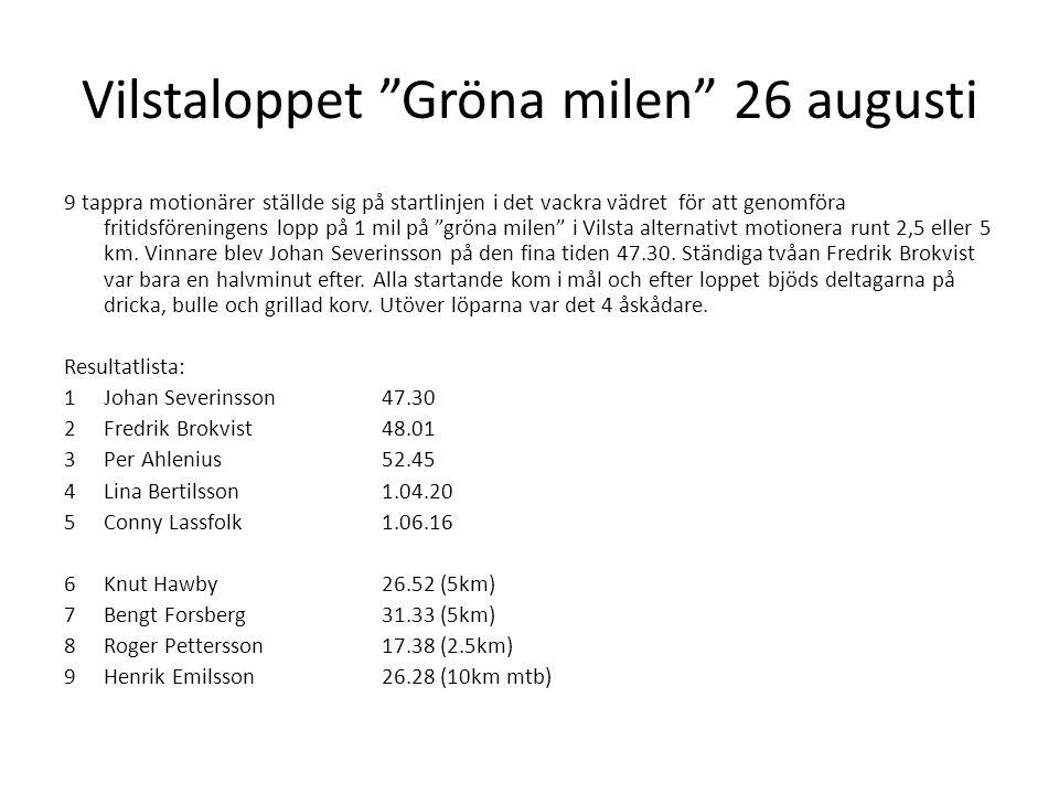 Vilstaloppet Gröna milen 26 augusti 9 tappra motionärer ställde sig på startlinjen i det vackra vädret för att genomföra fritidsföreningens lopp på 1 mil på gröna milen i Vilsta alternativt motionera runt 2,5 eller 5 km.