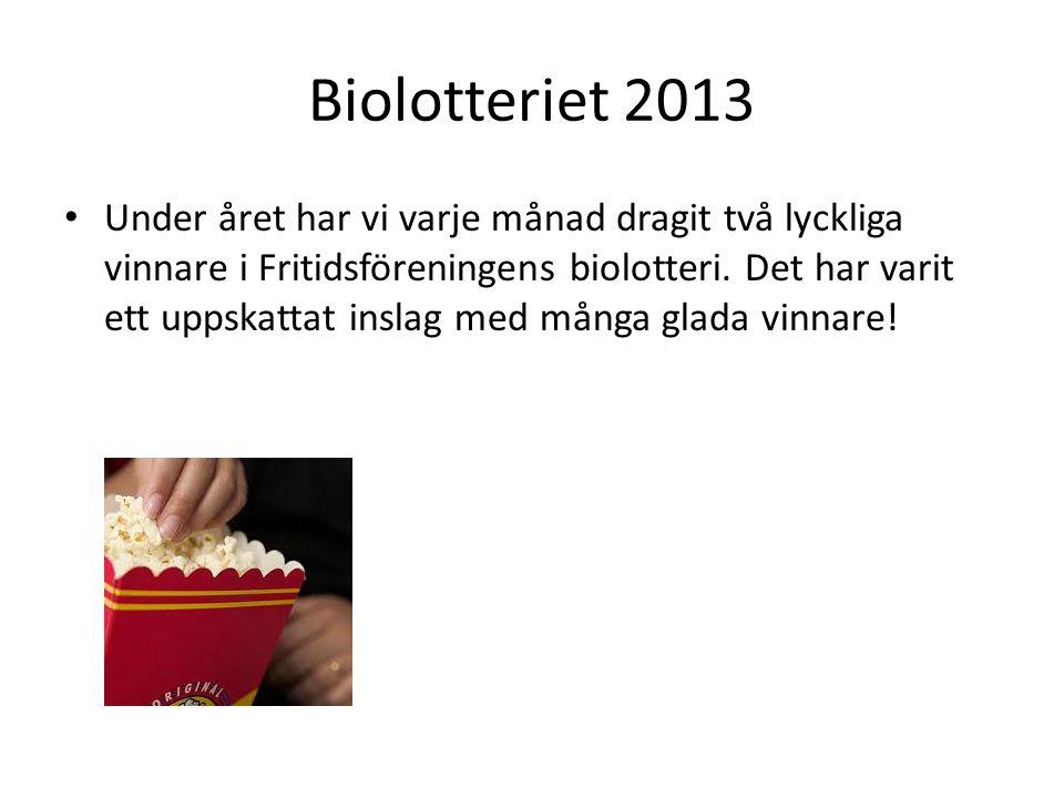 Biolotteriet 2013 • Under året har vi varje månad dragit två lyckliga vinnare i Fritidsföreningens biolotteri.