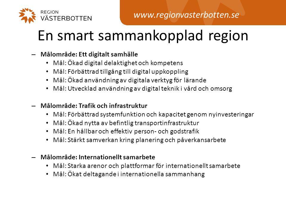 www.regionvasterbotten.se En smart sammankopplad region – Målområde: Ett digitalt samhälle • Mål: Ökad digital delaktighet och kompetens • Mål: Förbät
