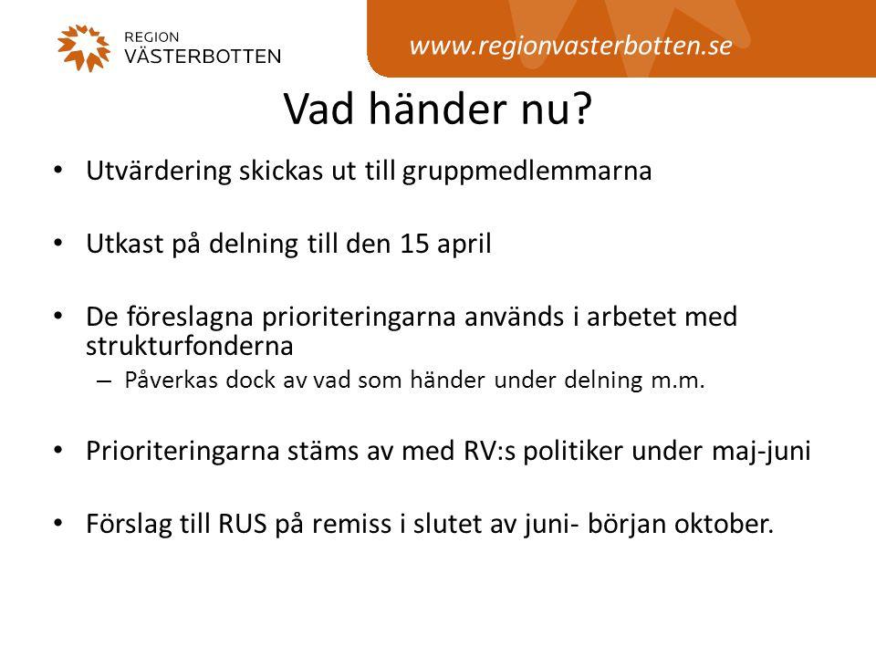 www.regionvasterbotten.se Vad händer nu? • Utvärdering skickas ut till gruppmedlemmarna • Utkast på delning till den 15 april • De föreslagna priorite