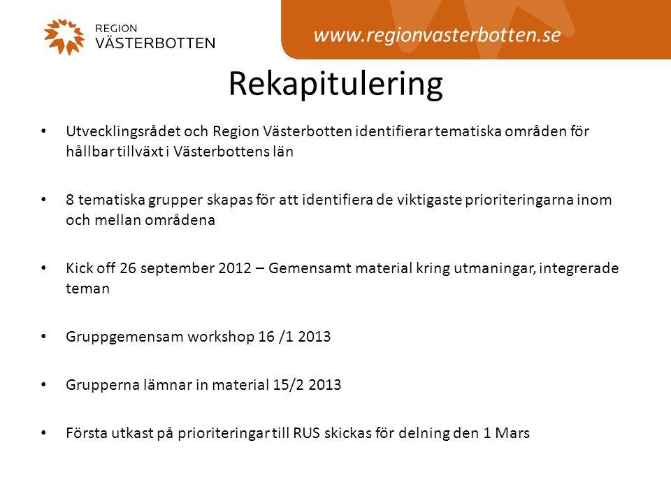 www.regionvasterbotten.se Integrerade teman i processen 1: Jämställdhetsintegrering - Grupperna bidrar med till den regionala handlingsplanen för jämställdhetsintegrering 2: Flernivåstyre - Presentation och material på Kick-off.
