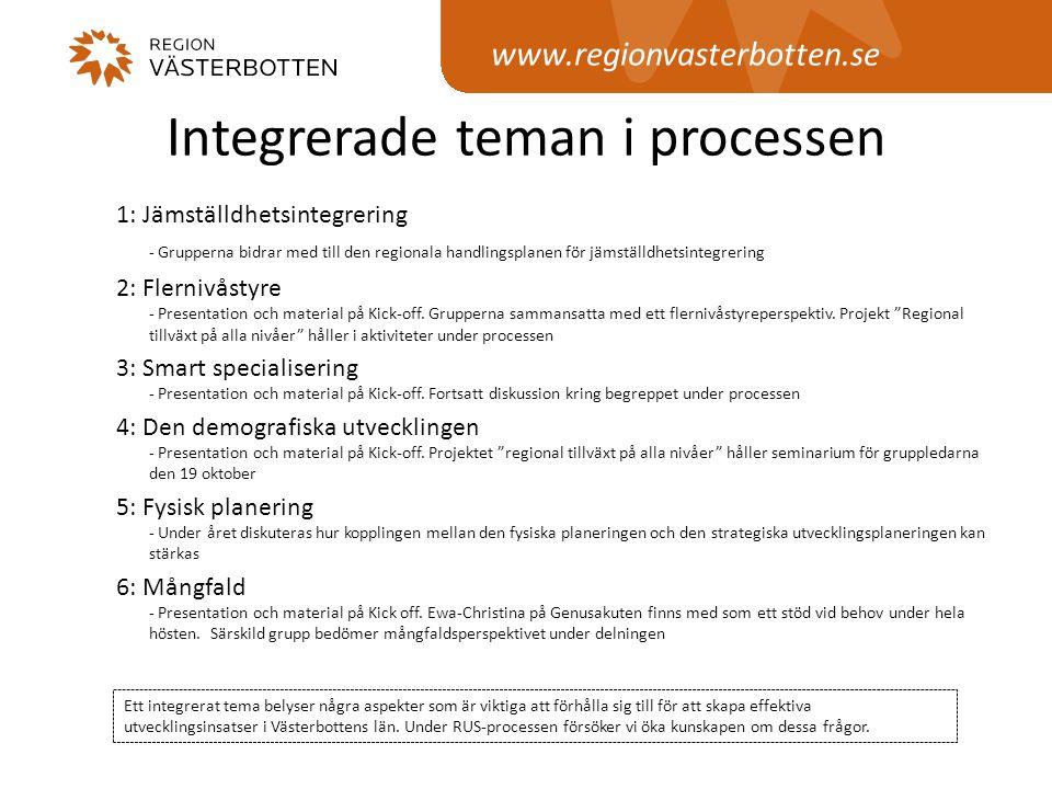 www.regionvasterbotten.se Integrerade teman i processen 1: Jämställdhetsintegrering - Grupperna bidrar med till den regionala handlingsplanen för jäms
