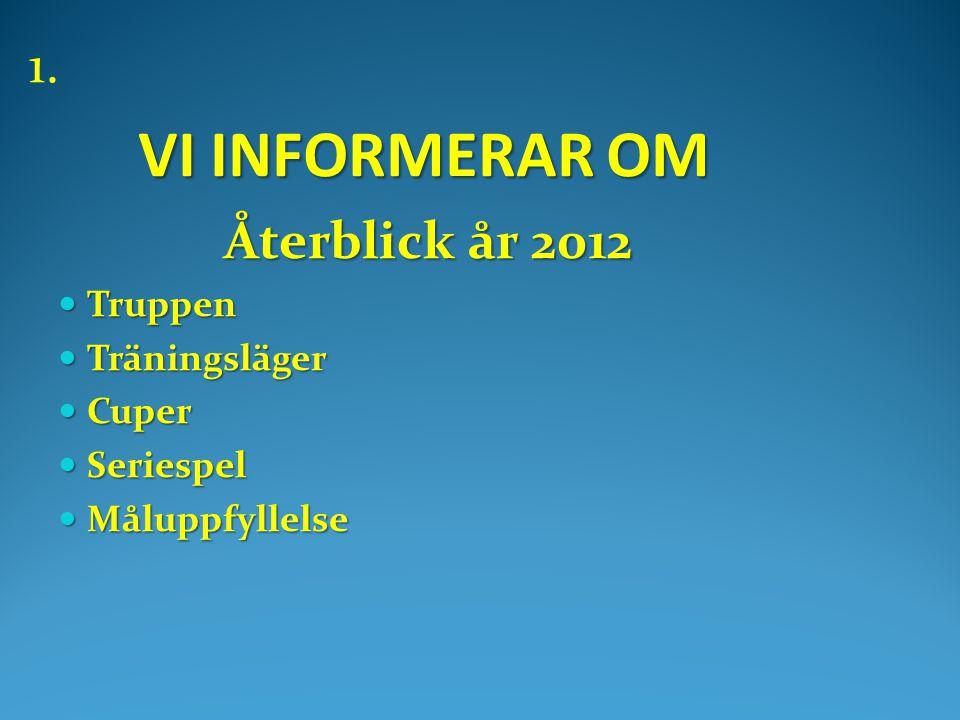 VI INFORMERAR OM VI INFORMERAR OM Återblick år 2012 Återblick år 2012  Truppen  Träningsläger  Cuper  Seriespel  Måluppfyllelse 1.