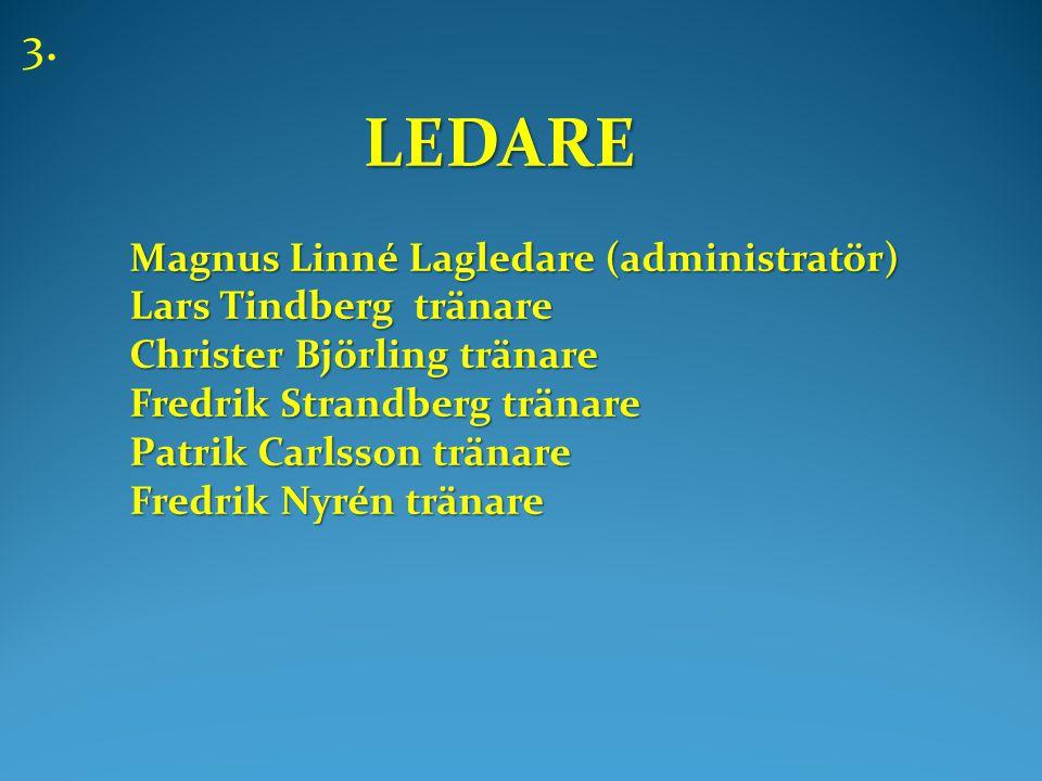 LEDARE LEDARE Magnus Linné Lagledare (administratör) Lars Tindberg tränare Christer Björling tränare Fredrik Strandberg tränare Patrik Carlsson tränare Fredrik Nyrén tränare 3.