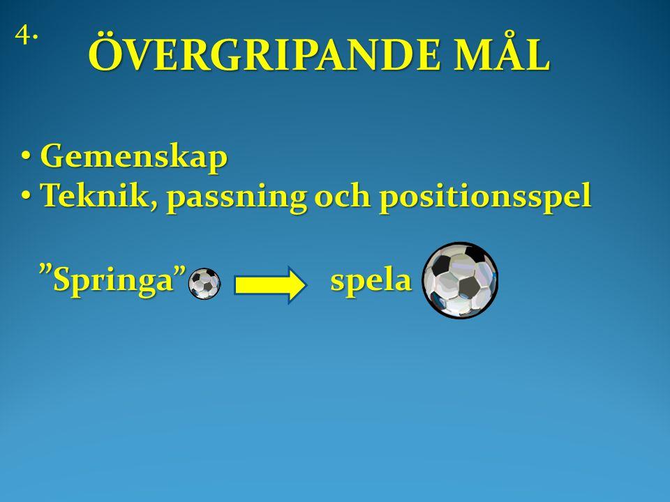 ÖVERGRIPANDE MÅL • Gemenskap • Teknik, passning och positionsspel Springa spela Springa spela 4.
