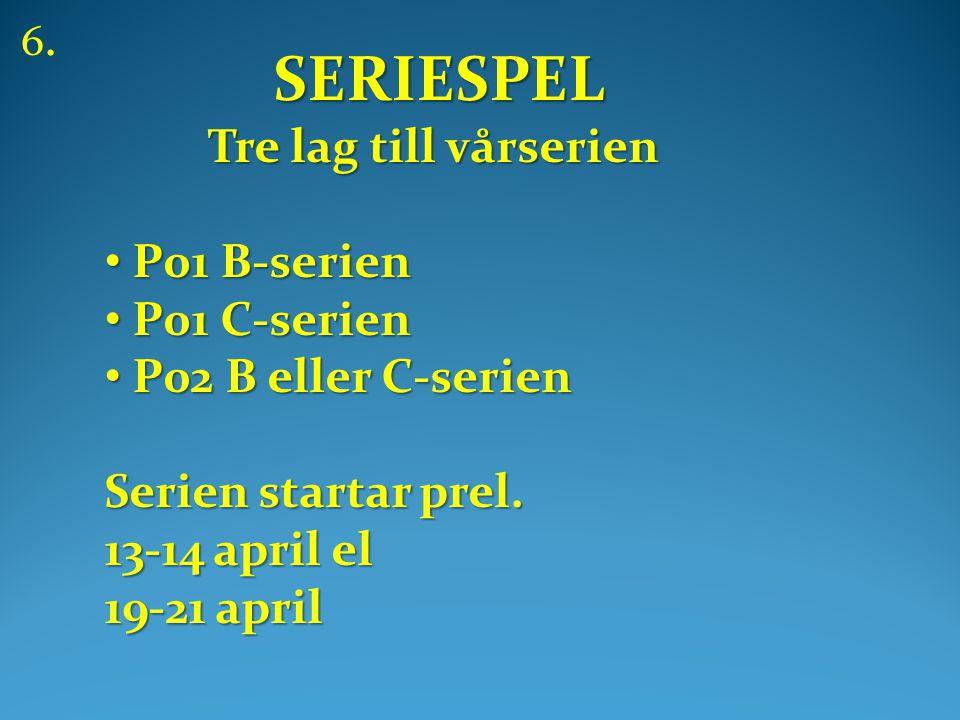 SERIESPEL SERIESPEL Tre lag till vårserien Tre lag till vårserien • P01 B-serien • P01 C-serien • P02 B eller C-serien Serien startar prel.