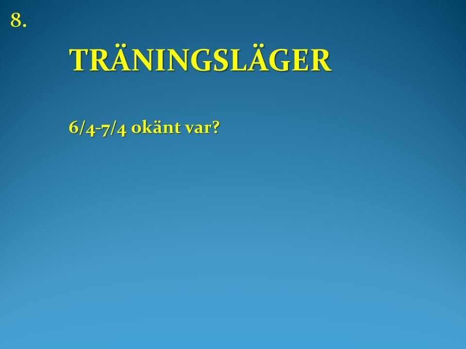 TRÄNINGSLÄGER 6/4-7/4 okänt var 8.