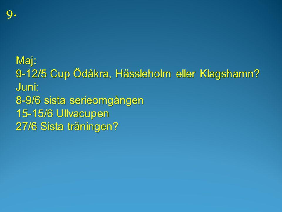 Maj: 9-12/5 Cup Ödåkra, Hässleholm eller Klagshamn.