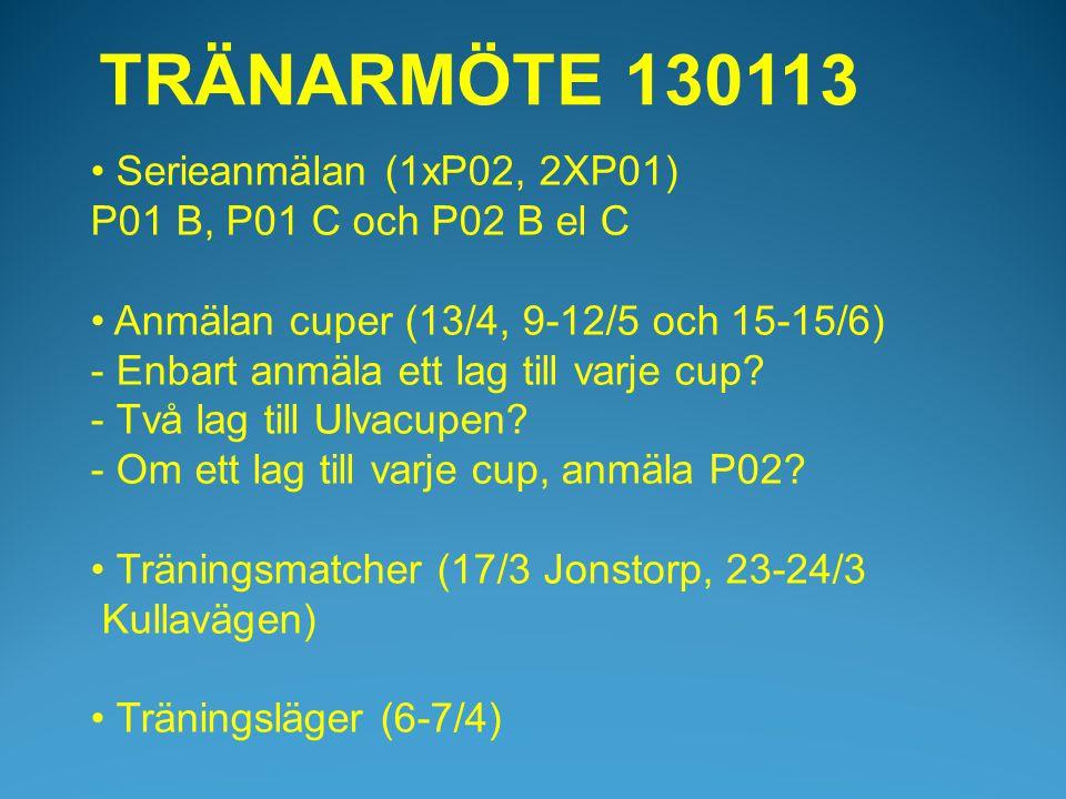 • Serieanmälan (1xP02, 2XP01) P01 B, P01 C och P02 B el C • Anmälan cuper (13/4, 9-12/5 och 15-15/6) - Enbart anmäla ett lag till varje cup.