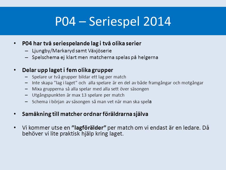Seriespel • P04 har två seriespelande lag i två olika serier – Ljungby/Markaryd samt Växjöserie – Spelschema ej klart men matcherna spelas på helgerna
