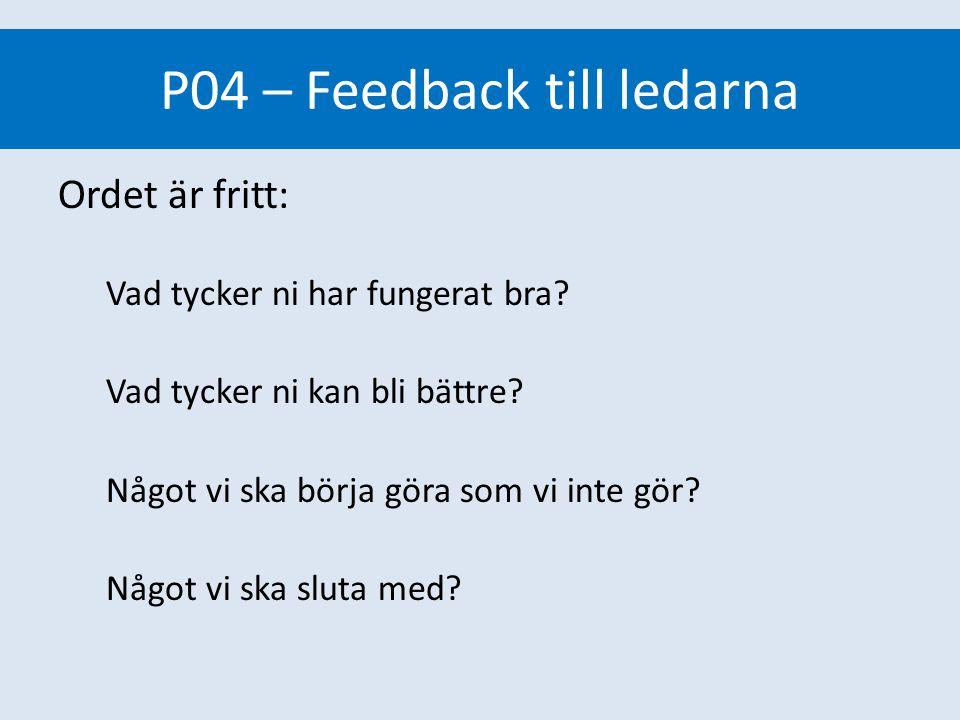 P04 – Feedback till ledarna Ordet är fritt: Vad tycker ni har fungerat bra? Vad tycker ni kan bli bättre? Något vi ska börja göra som vi inte gör? Någ