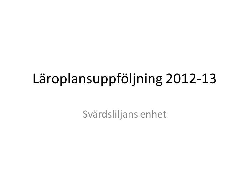 Läroplansuppföljning 2012-13 Svärdsliljans enhet