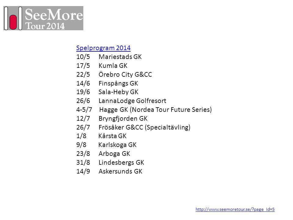 Spelprogram 2014 10/5 Mariestads GK 17/5 Kumla GK 22/5 Örebro City G&CC 14/6 Finspångs GK 19/6 Sala-Heby GK 26/6 LannaLodge Golfresort 4-5/7 Hagge GK