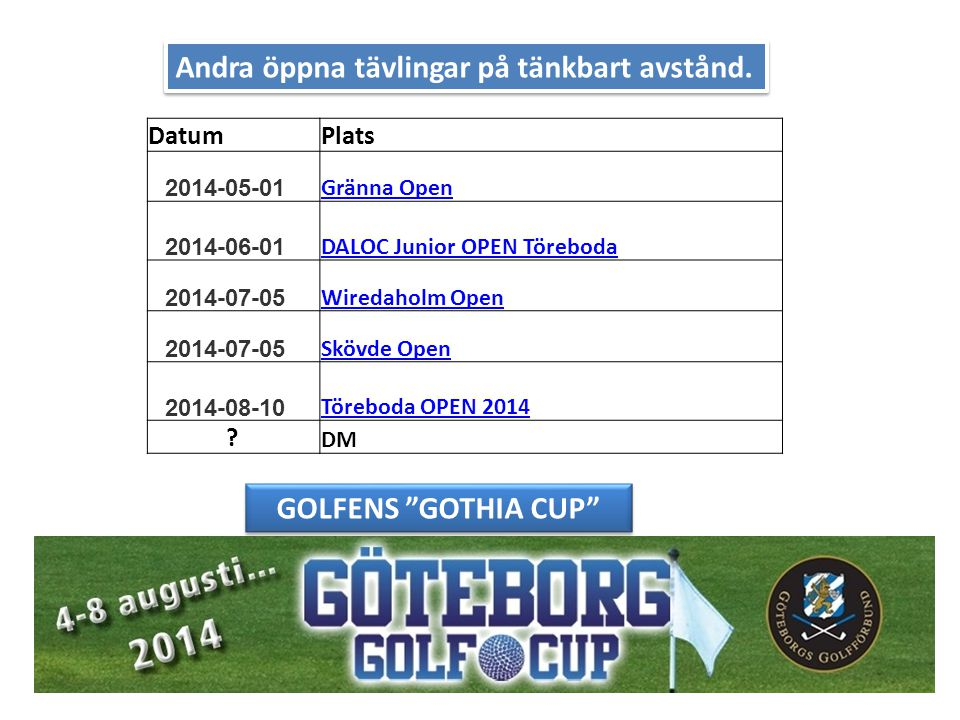 Andra öppna tävlingar på tänkbart avstånd. DatumPlats 2014-05-01 Gränna Open 2014-06-01 DALOC Junior OPEN Töreboda 2014-07-05 Wiredaholm Open 2014-07-