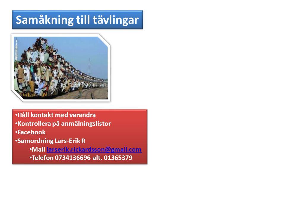 Samåkning till tävlingar • Håll kontakt med varandra • Kontrollera på anmälningslistor • Facebook • Samordning Lars-Erik R • Mail larserik.rickardsson@gmail.comlarserik.rickardsson@gmail.com • Telefon 0734136696 alt.