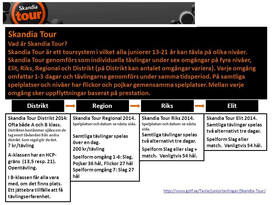 DistriktRegion http://www.golf.se/Tavla/juniortavlingar/Skandia-Tour/ Anmälan ska prioriteras 1-3.