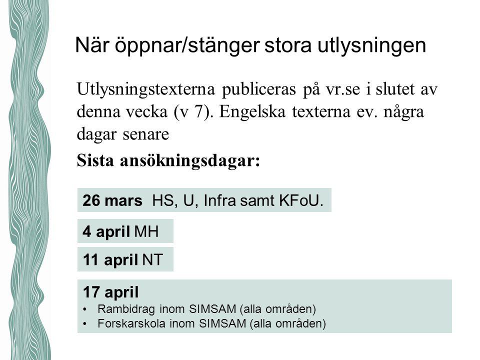 När öppnar/stänger stora utlysningen Utlysningstexterna publiceras på vr.se i slutet av denna vecka (v 7).